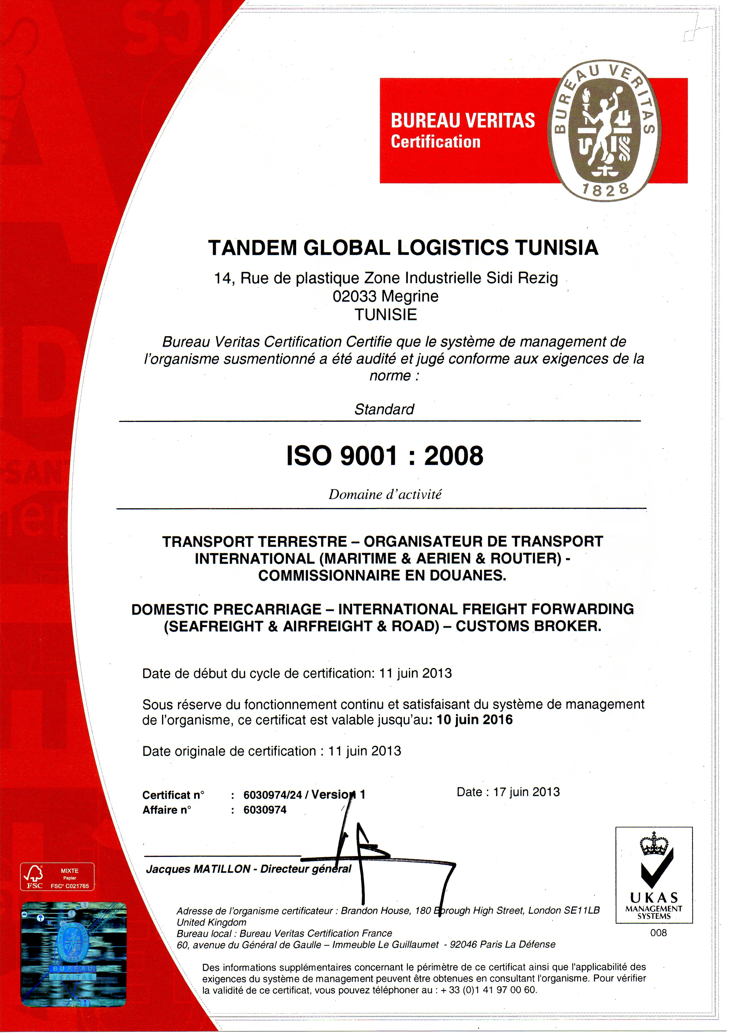 Tandem Logistics Our Certifications